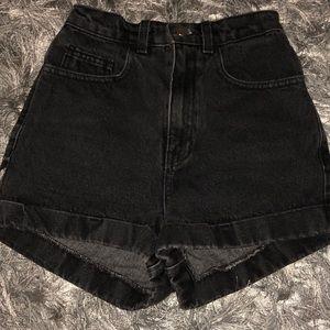 Black AA High Waist Shorts